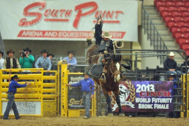 Rusty Wright of Milford, Utah, is ranked second in the saddle bronc world standings. Wright, 19, the reigning rookie of the year in the event, will ride Saturday night at the Farm-City Pro Rodeo in Hermiston.BRIAN GAUCK — Professional Rodeo Cowboys Association