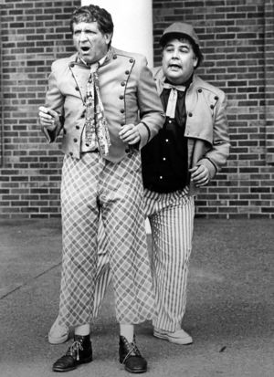 "George ""Goober"" Lindsey and Gailard Sartain appear in a ""Goober and Gailard around town"" segment of ""Hee Haw."""