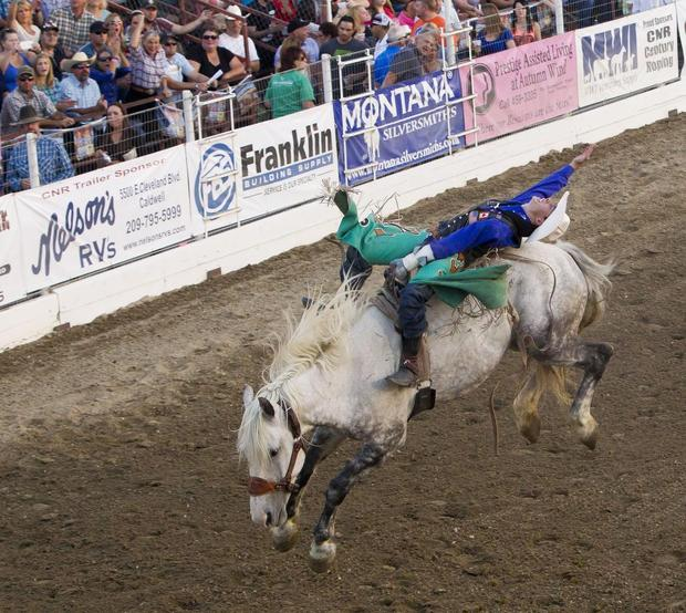 Canadian bareback bronc rider Clint Laye earned his second victory in Idaho in as many nights, scoring an 87 in Caldwell after winning in Burley on Friday. DARIN OSWALD — doswald@idahostatesman.com
