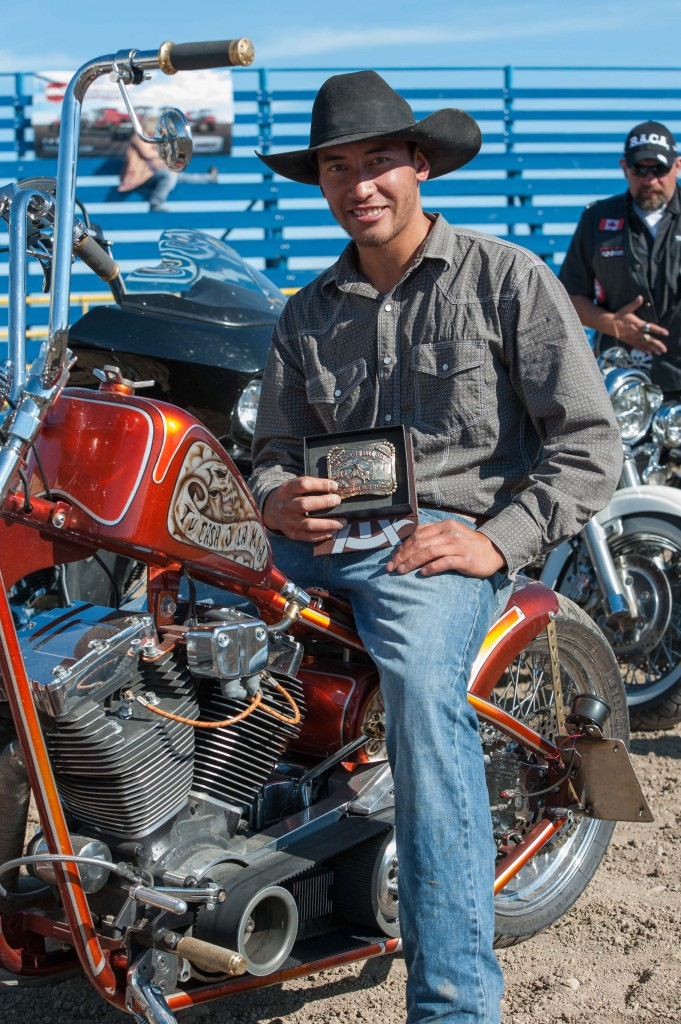 Lawrie Hawea poses with his new buckle from day two of the AOA Bikes & Bulls on August 23rd, 2015. Photo by Jack Vanstone/Legendary Photoworks.