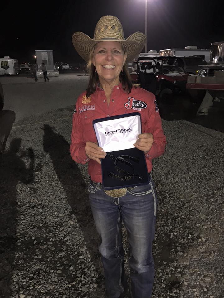 Mary Walker on Team Justin Bootsis your barrel racing champion at the Wranglerchampions challenge in Kennewick, WA.