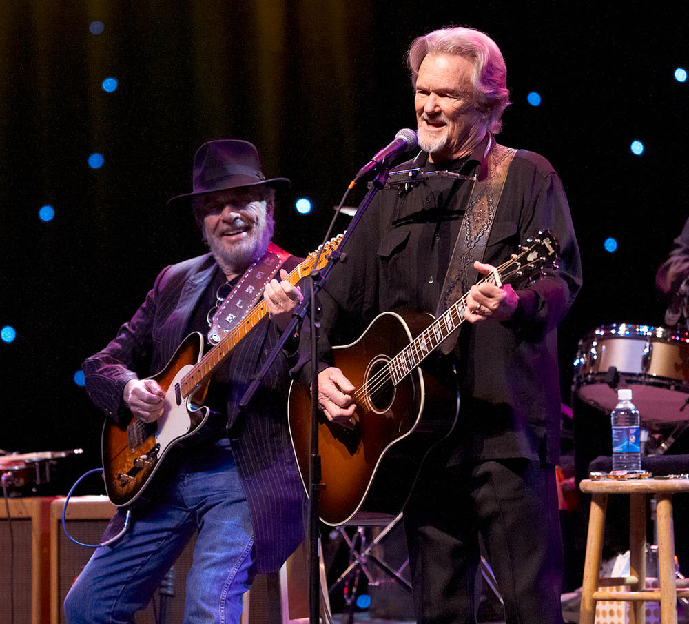 Singer/songwriters Merle Haggard (left) and Kris Kristofferson share the stage Sunday night at Bluestem Center for the Arts. Special to The Forum.