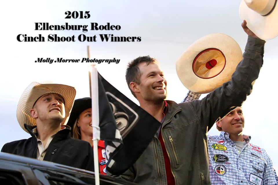 Congratulations to the winners of the 2015 Cinch Shoot-Out at the Ellensburg Rodeo. Each champion won $10,000.00. They are, Seth Hardwick-Bareback Riding, Hunter Herrin-Tie Down Roping, Heith DeMoss-Saddle Bronc, Charlie Crawford and Shay Carroll-Team Roping, Sarah Rose McDonald-Barrel Racing and Kanin Asay-Bull Riding. What a great evening! Photo by Molly Morrow