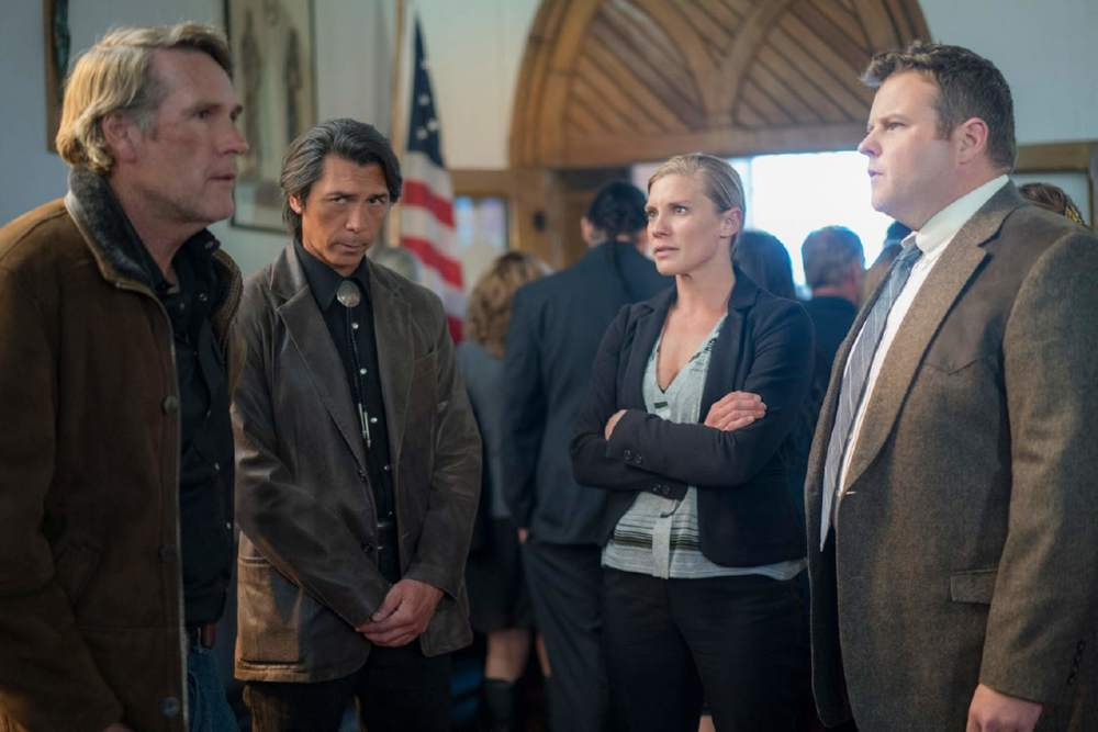 "Lewis Jacobs / Netflix via TNS Robert Taylor, Lou Diamond Phillips, Katee Sackhoff and Adam Bartley in ""Longmire."