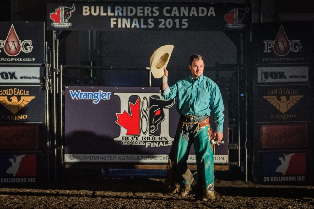 Brian Hervey is introduced at the Wrangler Western Bull Riders Canada Finals III presented by The Patchwork Group in Lloydminster, SK on October 3rd, 2015. Photo by Jack Vanstone/ Legendary Photoworks.