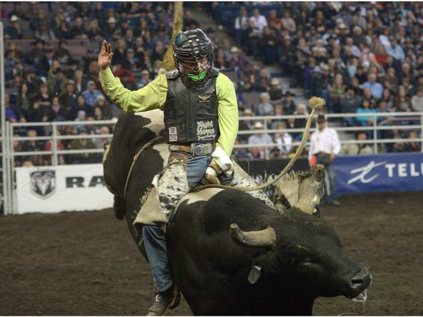 Dakota Buttar celebrates after winning the bull riding event at the 2014 Canadian Finals Rodeo held at Rexall Place. LARRY WONG /  EDMONTON JOURNAL
