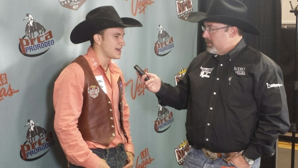 Bareback rider Jake Brown describes his winning ride Tuesday night in the interview room at the Wrangler National Finals Rodeo. PATRICK EVERSON/LAS VEGAS REVIEW-JOURNAL