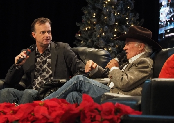 Flint Rasmussen, left, interviews rodeo legend Larry Mahan during a broadcast of Outside the Barrel on RFD-TV at the Cowboy Christmas Gift Show in the Las Vegas Convention Center, Wednesday, Dec. 9, 2015. Jerry Henkel/Las Vegas Review-Journal