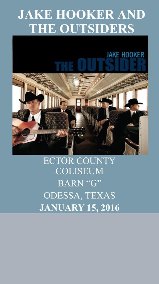 2016 Sandhills Rodeo Dance featuring Jake Hooker and The Outsiders January 15 in Barn G. Doors open at 8:00. $15 admission in Advance $20 at the door. Advance tickets available at the Ector County Coliseum Box Office or Boxofficesolutions.net.