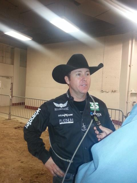Tie-down roper Trevor Brazile wins the average in Denver with a 23.8-second time on three head.