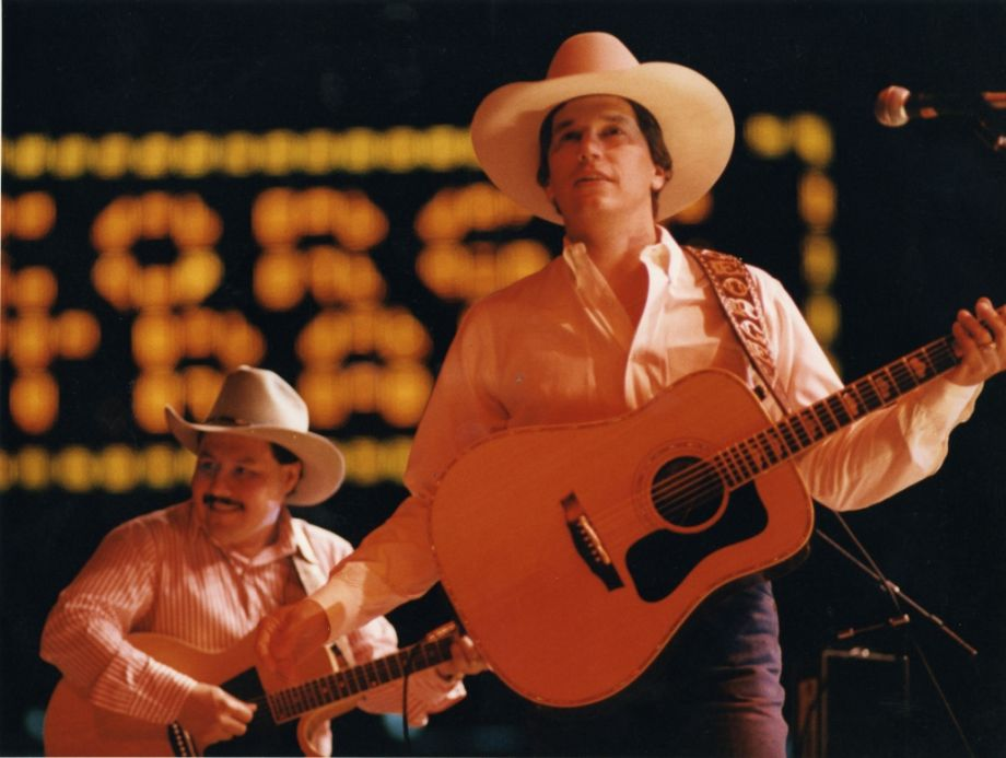 George Strait at the 1987 Houston Livestock Show and Rodeo, in the Astrodome.