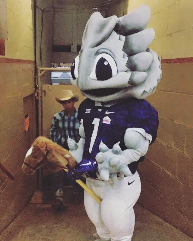 Super Frog ready to rodeo! #fwssr#purpleoutwillrogers 🐸💜TCU – Texas Christian University