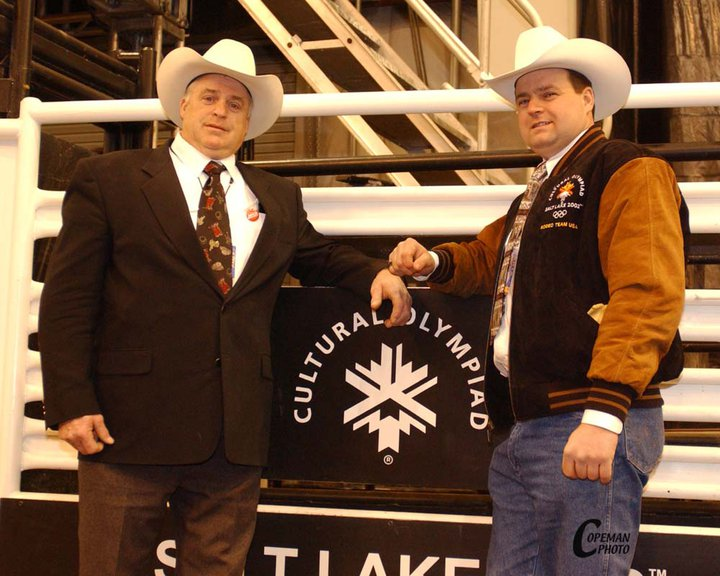 Greg & Duane Kelser at 2002 Winter Olympic Rodeo in Salt Lake City, Utah.  Photo by Mike Copeman