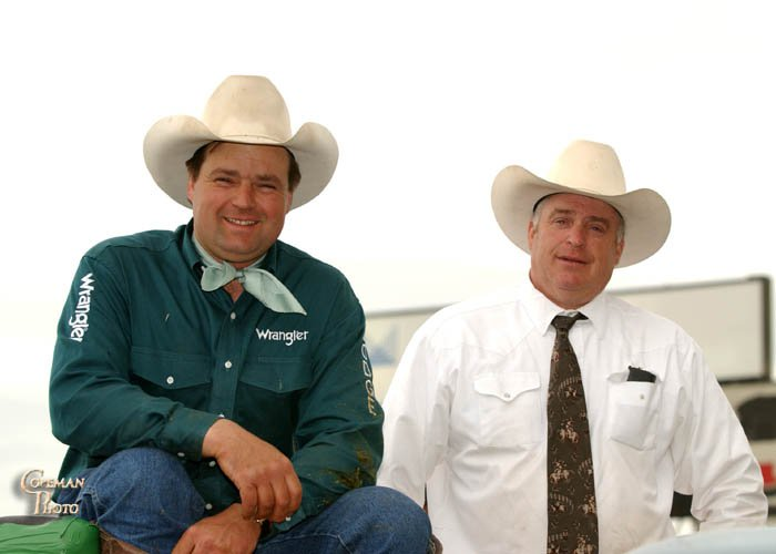 Greg & Duane Kelser at Cloverdale Rodeo.  Photo by Mike Copeman