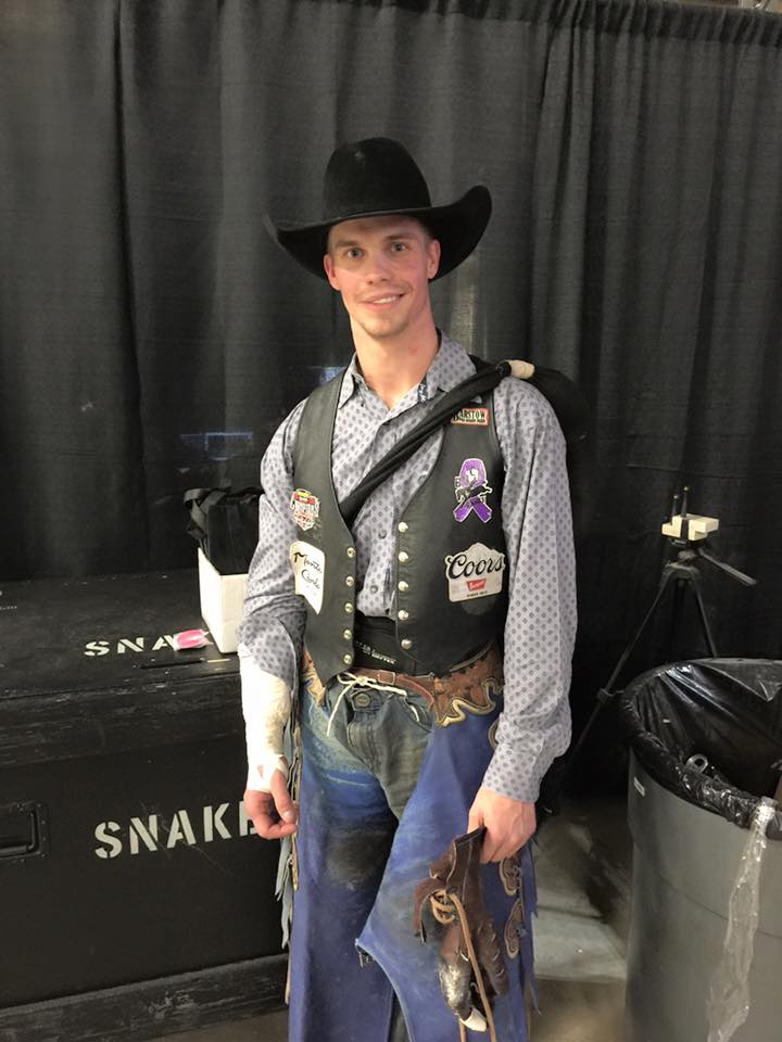 Orin Larsen is the bareback riding champion in San Antonio with a total of $22,744.
