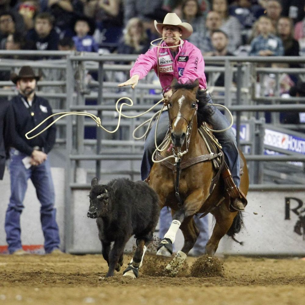 Tyson Durfey rides and goes on to win the tie-down riding championship during the Super Series Championship at the Houston Livestock Show and Rodeo in NRG Stadium, Saturday, March 19, 2016. Photo: Karen Warren, Houston Chronicle
