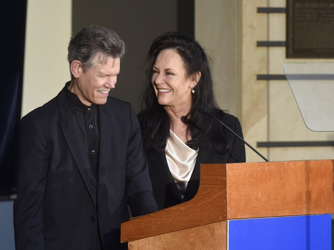Randy Travis, with his wife Mary Davis Travis, speak after being he was announced as the next inductee into The Country Music Hall of Fame March 29, 2016 in Nashville, Tenn.  Samuel M. Simpkins / The Tennessean