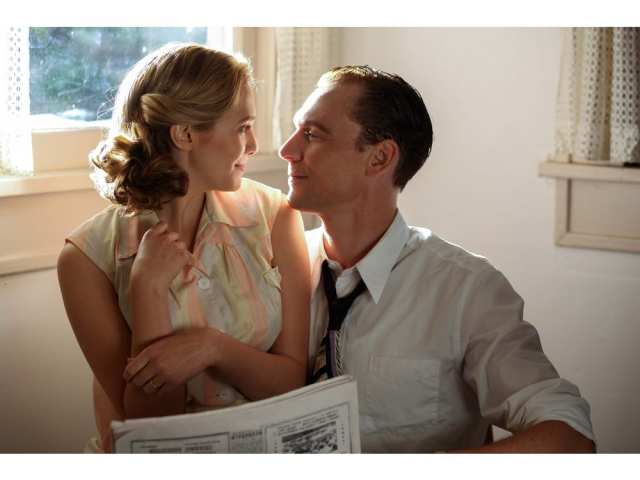 This image released by Sony Pictures Classics shows Elizabeth Olsen as Audrey Williams, left, and Tom Hiddleston as Hank Williams in a scene from, I Saw the Light. SAM EMERSON /  AP
