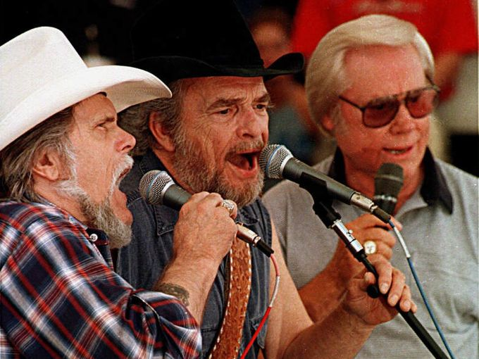 1997: Johnny Paycheck, Merle Haggard and George Jones, (from left) perform during the Old Timers show at Fan Fair.  Piland Randy /The Tennessean
