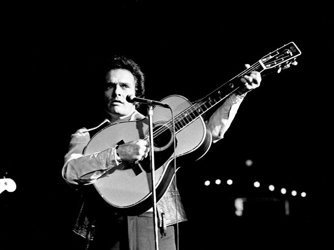 Merle Haggard performs for the crowd at Municipal Auditorium on Oct. 21, 1972, during the Capitol Records show.  Joe Rudis / The Tennessean