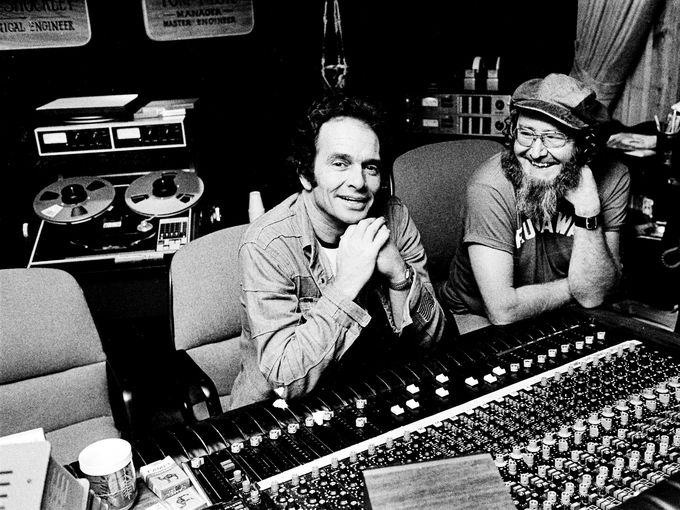 Country music star Merle Haggard, left, works with Hank Cochran in a Nashville studio March 8, 1977.  Bill Welch / The Tennessean