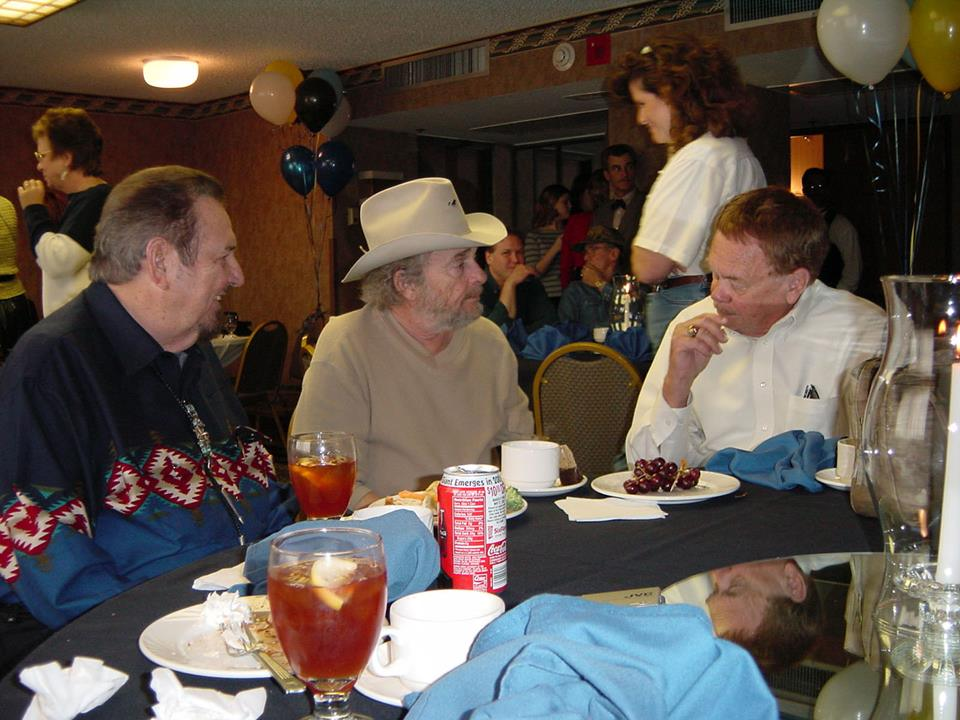 Here's another treasure. The late Hank Thompson, the late Merle Haggard and me celebrating Merle's birthday in 2003 at a little spot in Arlington, Texas. These two giants will never be replaced as entertainers and personal pals. This picture just reminds me again how I've been blessed in knowing the best. Photo by Bill Mack