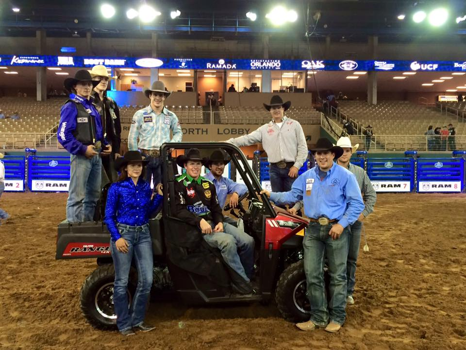 Meet your 2016 RAM National Circuit Finals Rodeo Champions! Tim O'Connell in bareback riding, Rusty Wright in saddle bronc, Josh Boka in steer wrestling, Jake Orman & Tyler Domingue in team roping, Clint Kindred in tie-down roping, Ivy Conrado in barrel racing, and Parker Breding in bull riding. That's a wrap from Kissimmee, folks. Congratulations to all of our Champions! #RNCFR #RAM