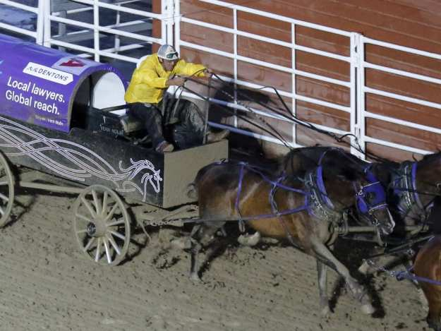 CALGARY, AB -- Vern Nolin easily takes the win of heat nine on day four of Calgary Stampede's GMC Rangeland Derby, on July 12, 2016. -- (Crystal Schick/Postmedia)