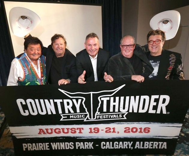 L-R, Bruce Williams from Williams and Ree Comedy Duo, Troy Vollhoffer Executive Producer Country Thunder, Gerry Krochak, General Manager Country Thunder Alberta, Brian Andrews, Festival Producer Country Thunder and Terry Ree from Williams and Ree Comedy Duo were on hand to release the details of a major three-day outdoor country music festival to be held in Calgary from August 19-21, 2016 during a press conference at Hotel Arts in Calgary on Wednesday October 28, 2015. Darren Makowichuk/Calgary Sun/Postmedia Network Darren Makowichuk/Calgary Sun