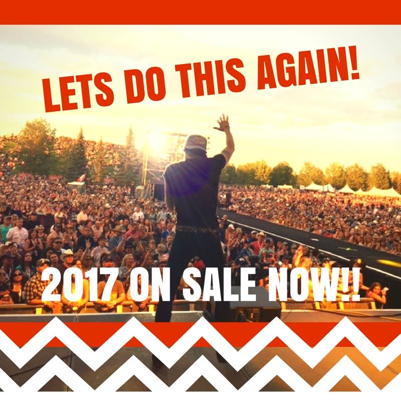 CT ALBERTA, we've got great news... we are bringing the Thunder back August 18-20, 2017 with headliner Blake Shelton....and tickets are ON SALE RIGHT NOW! You can purchase online here http://bit.ly/AB17FBor at either BOX OFFICE at the entry gates. ** There are a limited number of tickets available at each pricing tier, 3-day passes will start at $129+ fees/taxes!