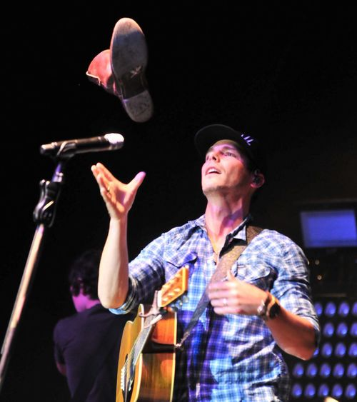 If the boot fits...Granger Smith performed the first main musical act for a Thursday Tri-State Rodeo and invited the audience to remove a boot, in reference to one of his songs.