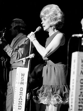 """Jean Shepard performs for a packed audience during the """"Grand Ole Opry"""" show on the stage of the Ryman Auditorium on July 21, 1973.Photo by Frank Empson - The Tennessean"""