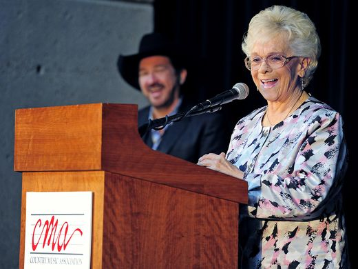 As Kix Brooks looks on, Jean Shepard speaks with the audience after the Country Music Association announced that she would become one of the newest members of the Country Music Hall of Fame on March 1, 2011.Photo by Larry McCormack/The Tennessean