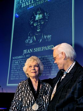 Jean Shepard, left, is welcomed into the Country Music Hall of Fame by George Jones at the Hall of Fame medallion ceremony May 22, 2011.Photo by Larry McCormack/The Tennessean