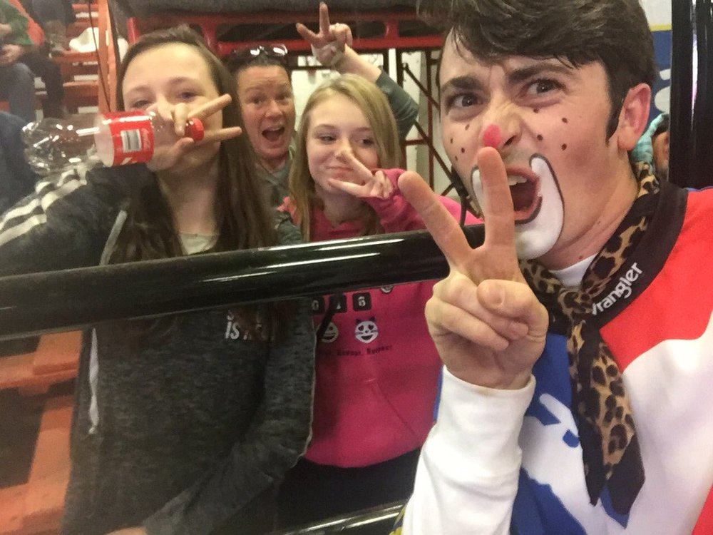 Brinson James takes a #BRCSelfie with the fans. Photo by Bull Riders Canada
