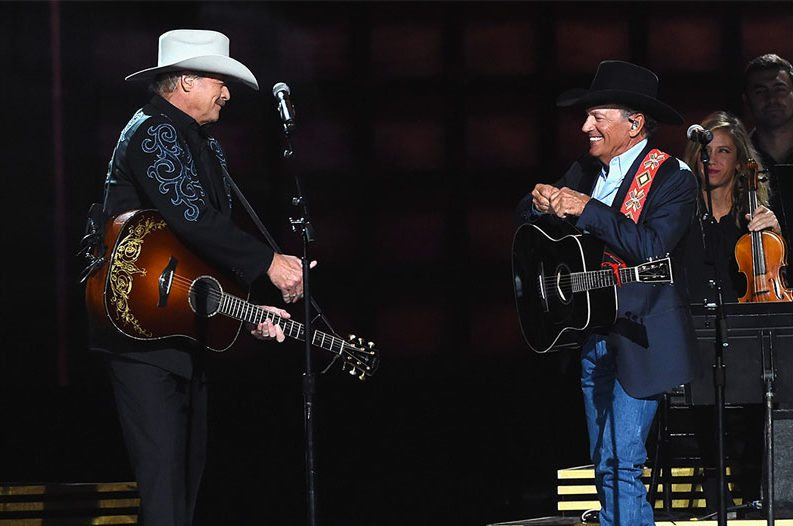 George Strait and Alan Jackson shared the stage during the 2016 CMA Awards for a joint performance of two of their biggest hits.
