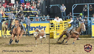 Levi Simpson / Jeremy Buhler - Round 1 Team Roping Champions * PRCA photo by Dan Hubbell