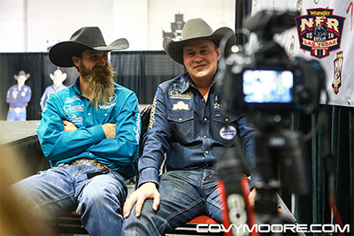 An elated and emotional Levi Simpson (r) & Jeremy Buhler after winning the 2016 Team Roping World Championship - Covy Moore photo. Thank You CPRA & Covy Moore