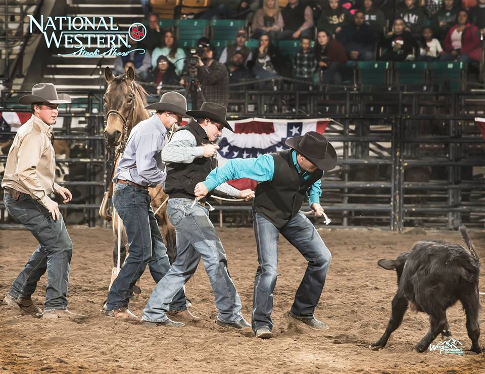With the safety and wellfare of the animals always on their minds, Cowboys help J T Adamson cut the rope away from the horse and calf. The rope found its way around JT's horse.— with Amy Fast,Bri Westfall,Cole Westfalland National Western Stock Show.