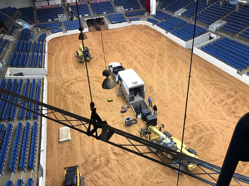 Getting up high this morning. Mike Whitlock and Chuck Daniels are helping install our video boards. It's quite a view from up here!