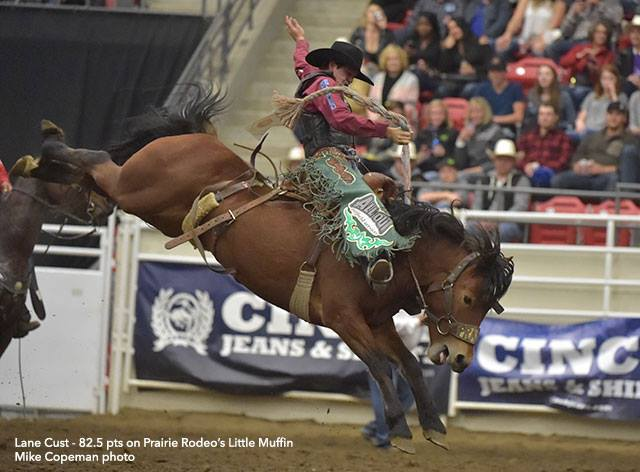 Canadians on the Scoreboard at San Antonio Moving on to the semi finals from the first bracket of competition at the 2017 San Antonio Stock Show & Rodeo are Canadian saddle bronc riders Lane Cust and Layton Green.  details at rodeocanada.com #prca #cpra