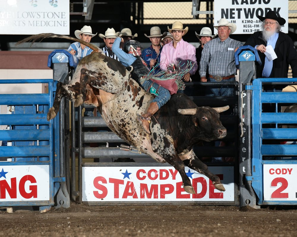 Ty Wallace from Collbran, Colorado won the Cody/Yellowstone Xtreme Bulls with an 89.5-point ride on Frontier Rodeo's Show Off toTy Wallace from Collbran, Colorado won the Cody/Yellowstone Xtreme Bulls with an 89.5-point ride on Frontier Rodeo's Show Off to