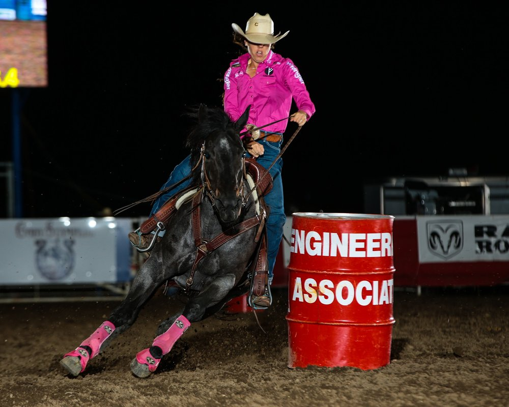 California barrel racer Nellie Miller is the new leader in that event after stopping the clock in 17.23 seconds at the second performance of the Cody Stampede. PRCA photo by Andy Watson