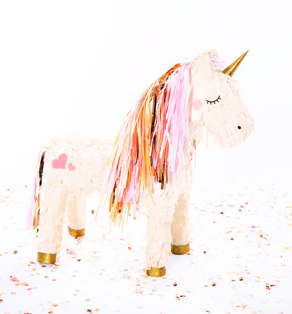 Rose Gold Unicorn Piñata from Balloon and Paper