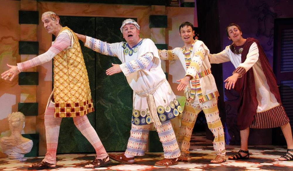 Dirk Lumbard, Steve Hayes, Bradford Scobie, and Tim Murray in  A Funny Thing Happened on the Way To The Forum  Directed and Produced by Vincent J. Cardinal