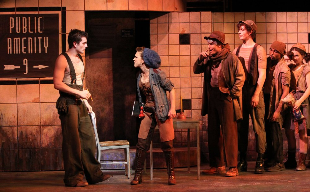 Andea McArdle, Bob Walton and Ken Clark in  Urinetown; the musiical