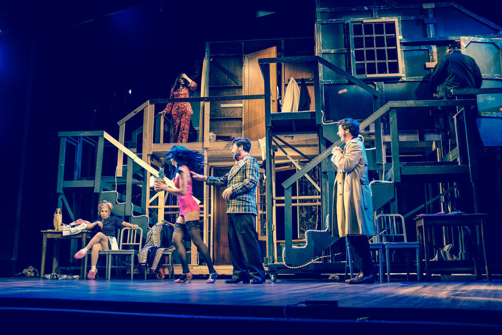 Noises Off  by Michael Frayn at Connecticut Repertory Theatre With Jennifer Cody, Michael Doherty, Steve Hayes, John BIxler, Gavin McNicholl, Curtis Longfellow, Arlene Bozich, Grace Allyn, and Jayne Ng.  Scenic Design by Tim Brown.