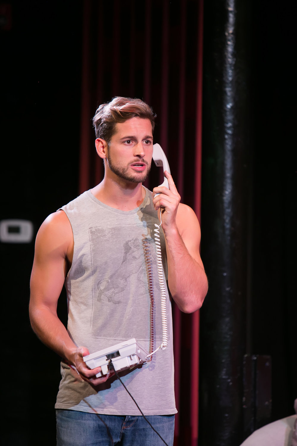 Max Emerson (@maxisms) in THE LITTLE DOG LAUGHED at RedHouse, Syracuse, NY.  Photo by  Genevieve Fridley