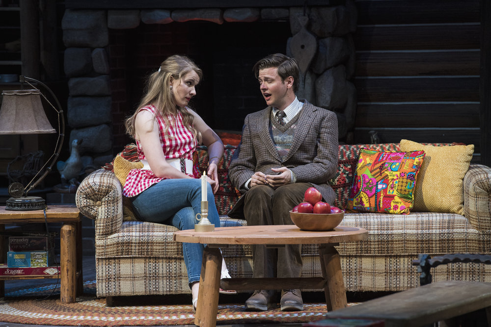 Katie Fay Francis (left) as Catherine Simms and Michael Doherty as  Charlie Baker inthe Utah Shakespeare Festival's 2018 production of  The Foreigner.  (Photo by Karl Hugh. Copyright Utah Shakespeare Festival 2018.)