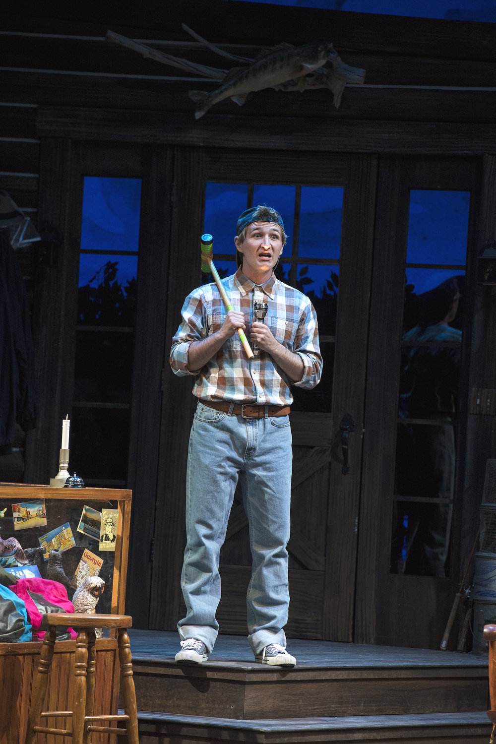 Rob Riordan as Ellard Simms inthe Utah Shakespeare Festival's 2018 production of The Foreigner.  (Photo by Karl Hugh. Copyright Utah Shakespeare Festival 2018.)